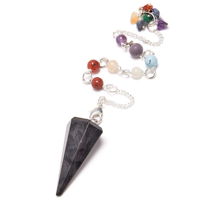 Shungit, pendel med chakrastenar