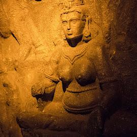 yogini by Anirban Basak - Buildings & Architecture Statues & Monuments ( sculpture, cave, yogini )