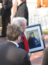 Photo: Webmaster Christian Goens, of La Louviere, Belgium, brought along a portrait of Paul Splingaerd, the orphan who became a mandarin.  Christian's website with extensive Splingaerd pages is www.goens-pourbaix.be