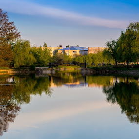 Marghiloman park - Buzau, Romania by Remus Lungu - City,  Street & Park  City Parks ( mirrored reflections, reflection, park, green, reflections, lovebirds, lake, symmetry, bridge )