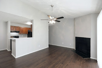 A4 spacious layout with a fireplace, wood-style flooring, ceiling fan, and fully-equipped kitchen
