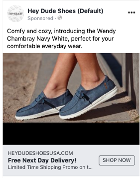 Fast shipping featured in a Facebook advertisement