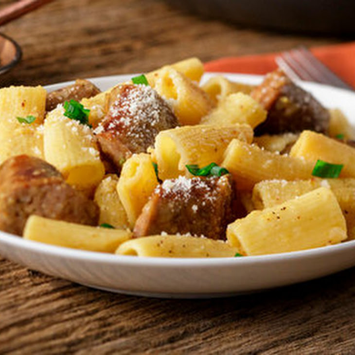 Rigatoni Sausage Carbonara Recipe