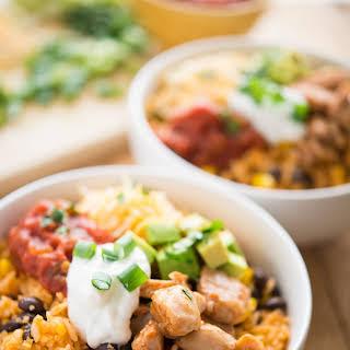 One-Pan BBQ Chicken Burrito Bowls.