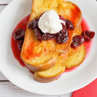 Challah French Toast with Brandied Cherry Sauce