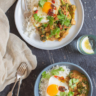 Veggie Curry with a Fried Egg and Mustard Chilli Oil