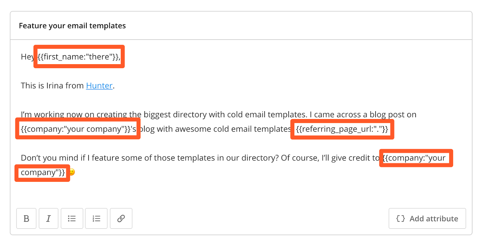 Hunter campaigns personalization example