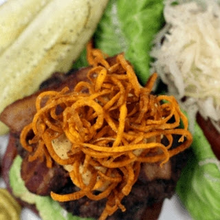 Bison Burger with Sweet Potato Haystack and Chipotle Aioli