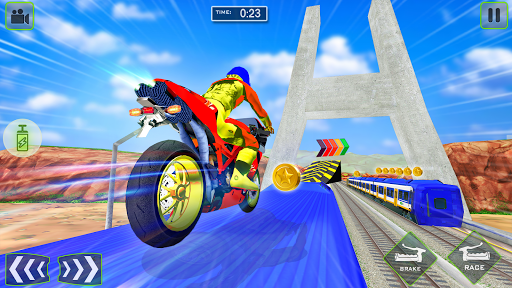 Tricky Bike Stunt vs Train Racing Fun apklade screenshots 2