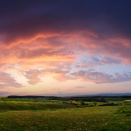 Hungarian skies by Zsolt Zsigmond - Landscapes Prairies, Meadows & Fields ( sky, panorama, green, wide, sunset, hills, yellow, clouds, meadow, canola )