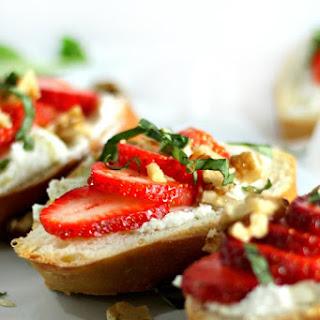 Strawberry, Basil, Honey-Goat Cheese Bruschetta (vegetarian Recipe).