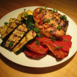 Marinated Grilled Chicken Breasts and Veggies.