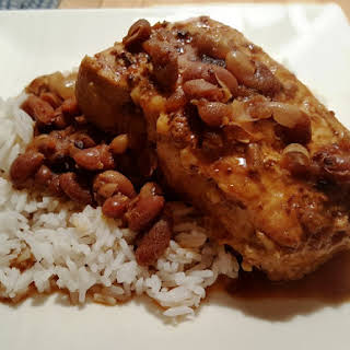 Pressure Cooker Pork Chops and Baked Beans.