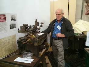 Photo: Bob shows off an antique dividing machine (pre-dating Babbage).