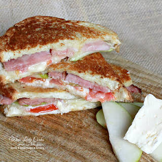 Ham Pear Brie Grilled Cheese Sandwich.