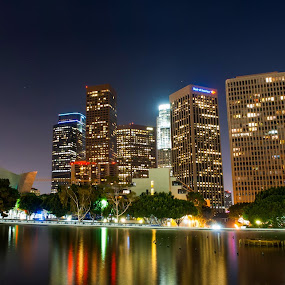 Down Town LA by Brad Kalpin - City,  Street & Park  Skylines ( disney theater, water, building, california, los angeles, long exposure, night, city )