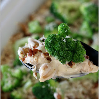 Creamy Bacon, Broccoli and Cauliflower Pasta Casserole with Parmesan (slow cooker or oven recipe).