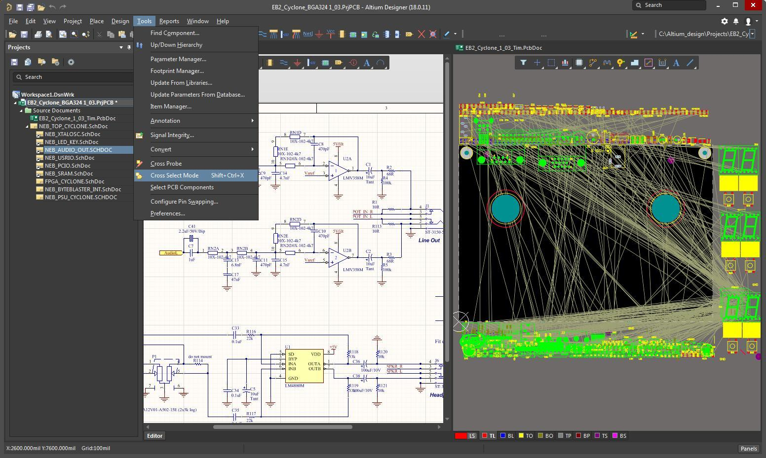 Screen capture of AD with both schematic and layout windows open