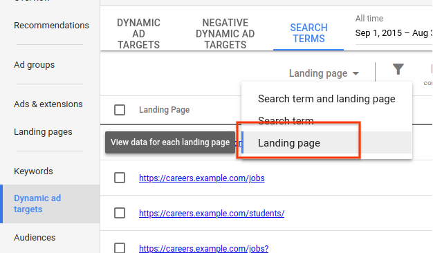 Landing page data in the search terms report
