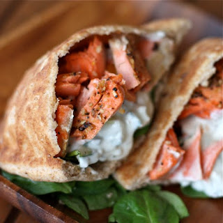 Healthy Broiled Salmon Gyros.