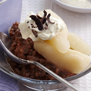 Chocolate Rice Pudding with Poached Pears