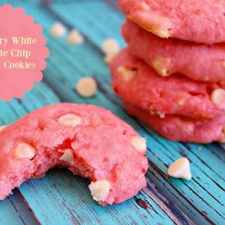 Strawberry White Chocolate Chip Cake Mix Cookies.