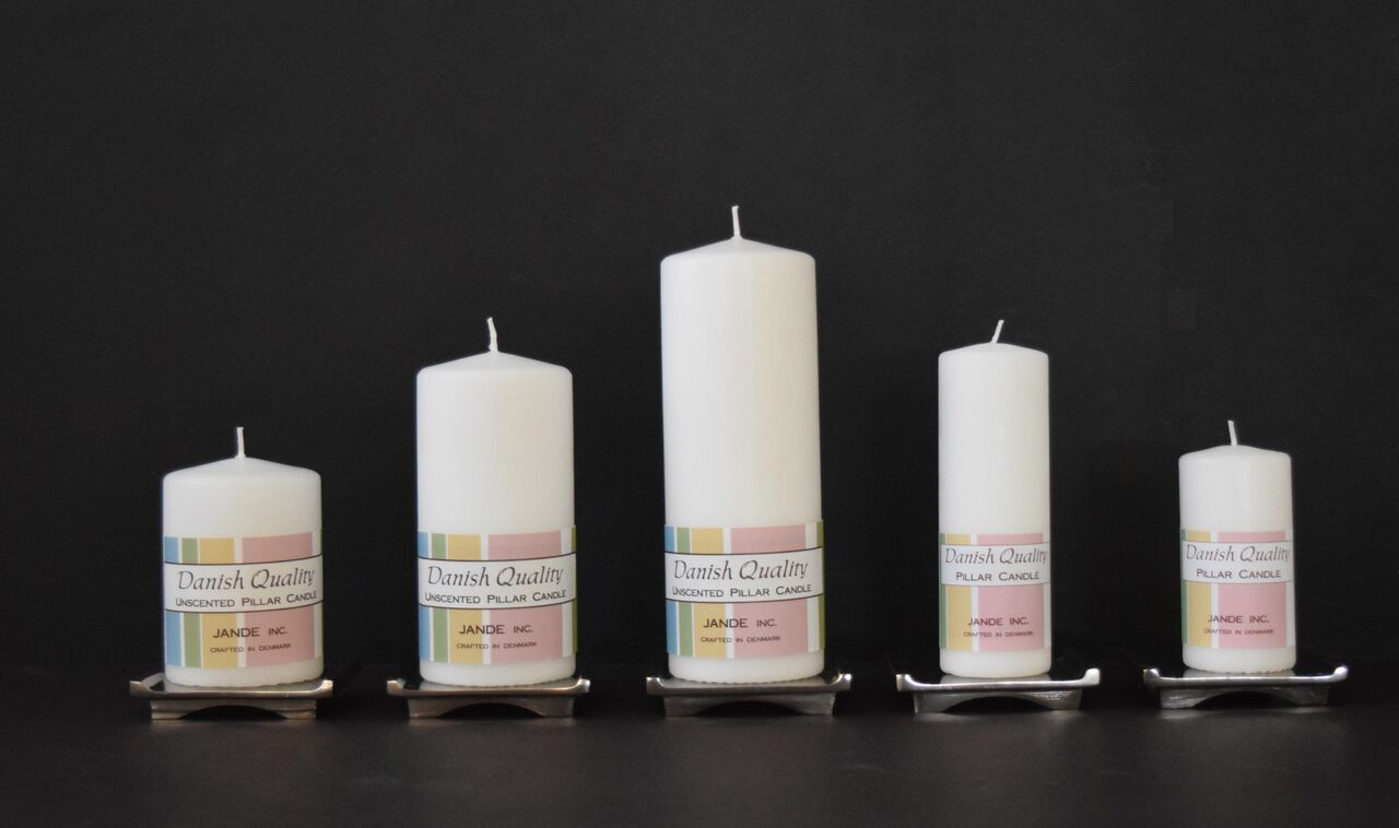 White Pillar candles for weddings