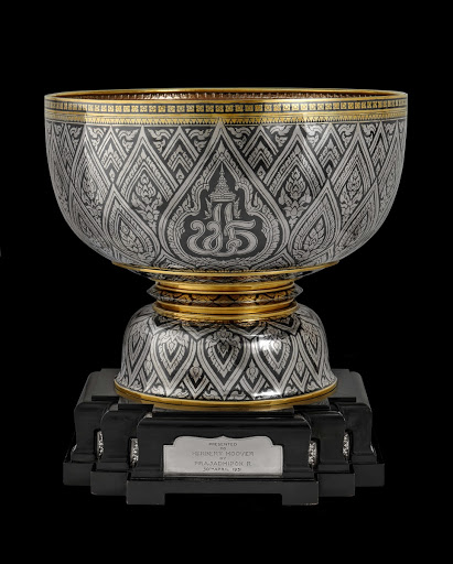 Gold Niello bowl with silver trim, stand