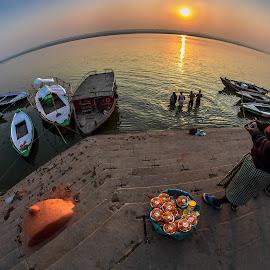 Morning Life Cycle at Ganga Ghat by Ketan Vikamsey - City,  Street & Park  Vistas ( pic of the day, sunrise, natgeoyourshot, sun worship, natgeohd, kristen_mcnicholas, ganga ghat, natgeo, photo of the day, bbctravels, ketan vikamsey, canonusa, life cycle, christina_shorter, lonelyplanet, lonelyplanetmagazineindia, up tourism, canonphotography, flower vendor, uttar pradesh tourism, kv kliks, natgeotravel, national_geographic, subah e banaras, varanasi, travel the world pix, incredible india )