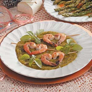 Shrimp with Basil-Mango Sauce.