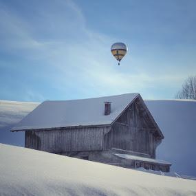 The ballon by Konstanze Singenberger - Transportation Other ( hot air balloon, old, winter, snow, house, balloon )