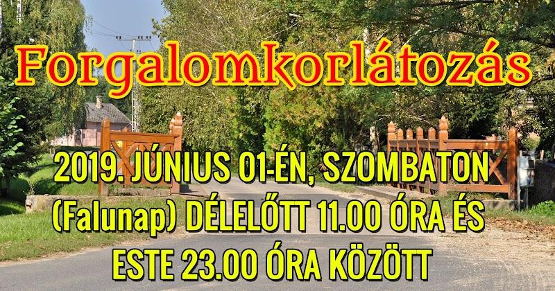 Szenna - Bárdudvarnok összekötő úton forgalomkorlátozás 2019. június 01