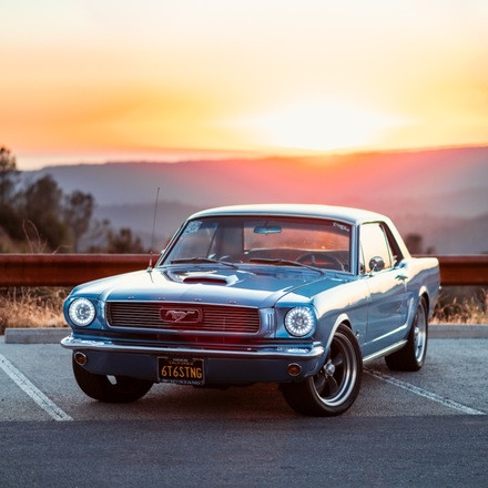 1966 Mustang Coupe - Blue on Blue Restomod Hire California