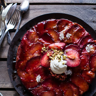 Brown Butter Plum Up-Side Down Yogurt Cake with Pistachios..