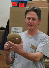 Photo: Duane shows a bowl made from a ship railing that he won on the Silent Auction last month.  If you wonder why it has an orange hole in it, ...