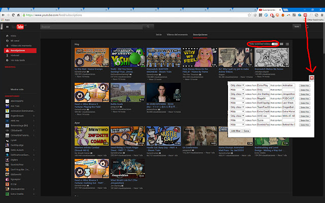 Youtube Subfilter Extension