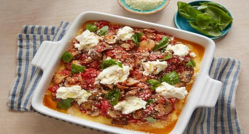 New-mom meal: Baked polenta with mushrooms, ricotta & basil