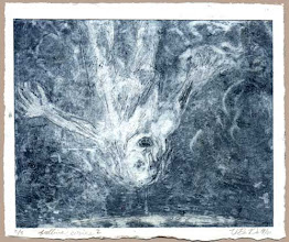 Photo: falling - April 2001 - this is a mono-type and while I like the watery effect I'm thinking I need the tidy lines of etchings, this series is washed out looking, looks more like a drowning then falling.