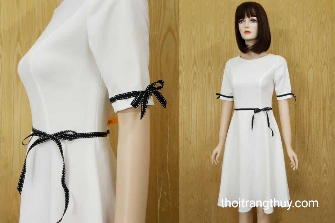 Váy xòe công sở phối nơ đen trắng V585 Thời Trang Thủy Hải Phòng