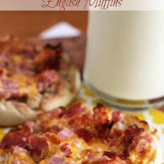 Cheesy Ham & Bacon English Muffins.