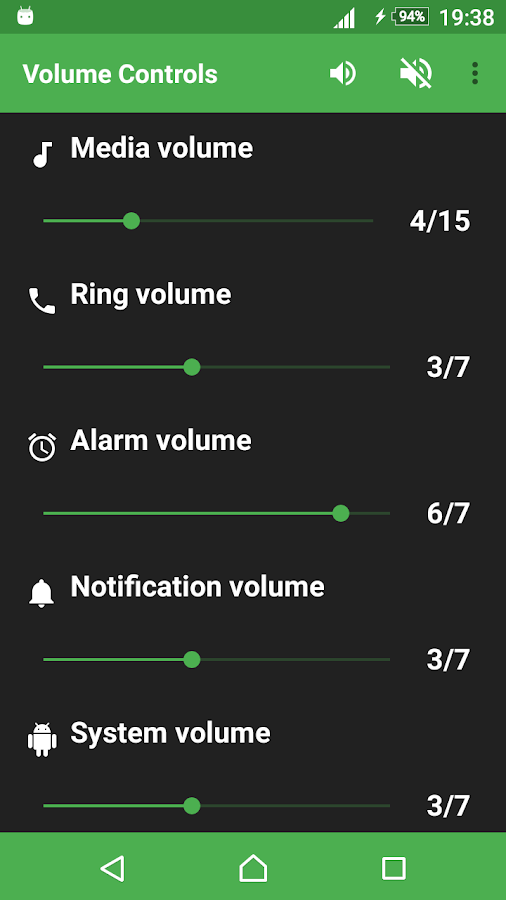 Volume Controls- screenshot