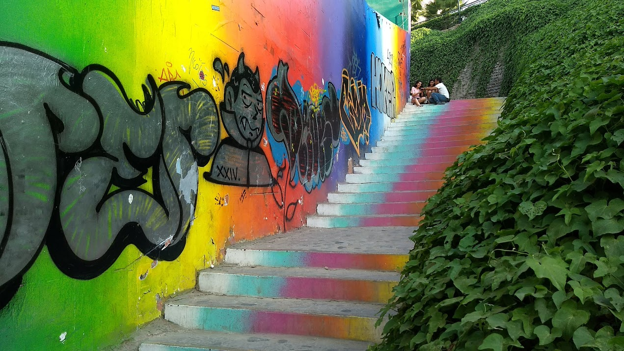 Colorful painted stairs leading from Miraflores down to the shoreline in Lima, Peru. Photo by Shelley Seale.