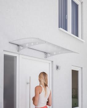 Auvent marquise de porte Lyra 3, 120 x 80 cm, polycarbonate alvéolaire, fixation acier galvanisé, Classic