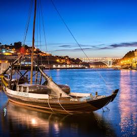 Porto by Nick Moulds - Transportation Boats ( boats, night, portugal, dusk, river, porto )