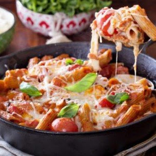 Mozzarella, Basil, and Tomato Pasta Bake