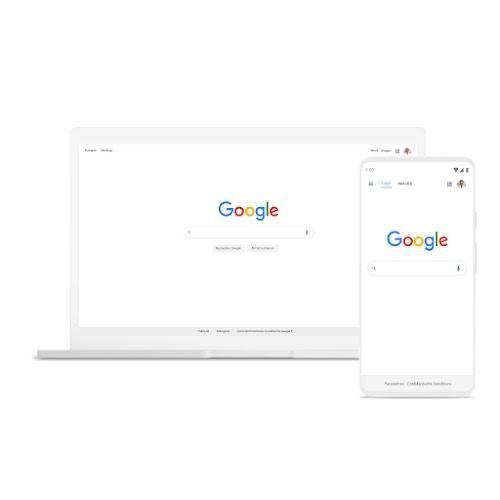 Ordinateur portable et téléphone sur lesquels la rechercheGoogle est affichée