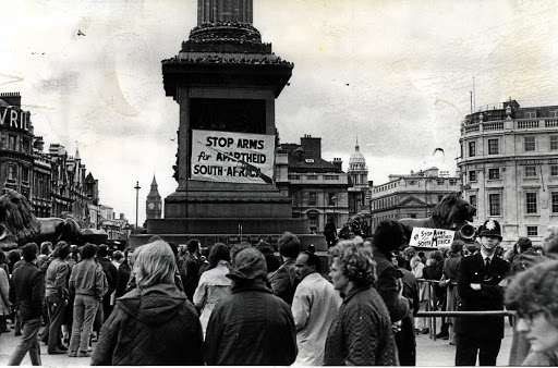 Continued backing: Protesters demonstrate against apartheid in Trafalgar Square, London, in the 1980s. UK and US leaders Margaret Thatcher and Ronald Reagan were intransigent when urged to impose sanctions against SA. France would not cease arms sales to the regime. File picture: SUPPLIED
