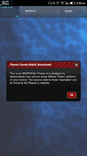 Phaser Canvas WebGL Benchmark