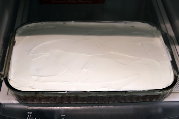Iced cake chilling in the fridge.