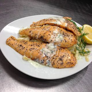 Salmon With Creamy Dill Sauce and Fettuccine.